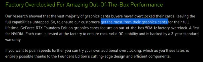 NVIDIA 希望顧客能更盡用顯示卡的效能,因此新一批 RTX 公版卡在出廠時已預設超頻。