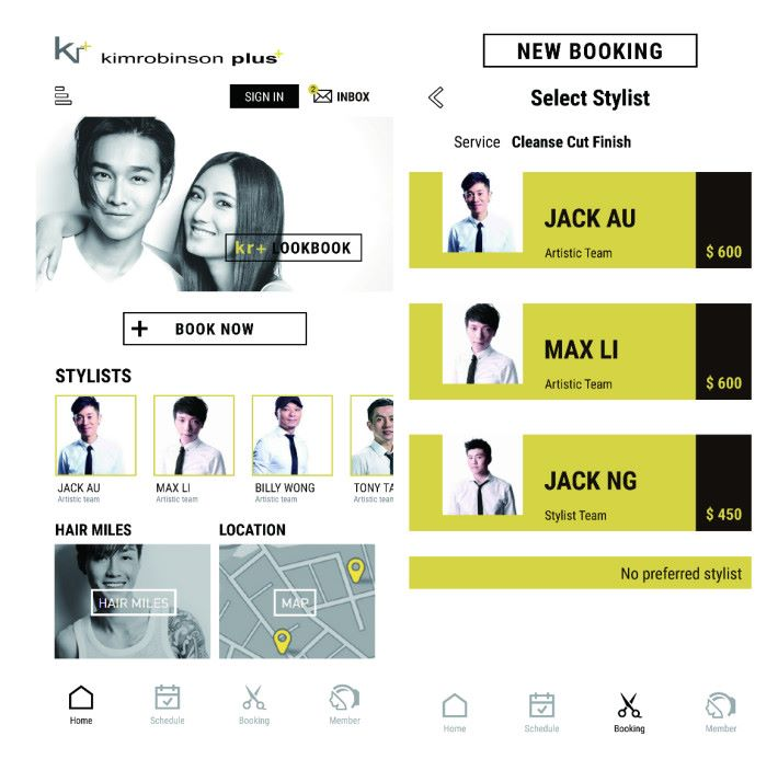 kr+ 藉著 O2O 營銷 App為年輕用戶提供自助預約功能,一來提升客戶體驗,二來增強管理預約的效率。圖片為模擬介面。