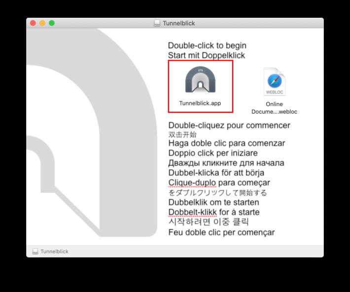 2. 雙擊下載回來的 dmg 檔掛載影像檔,並在打開的視窗中雙擊「 Tunnelblick 」圖示就會開始安裝