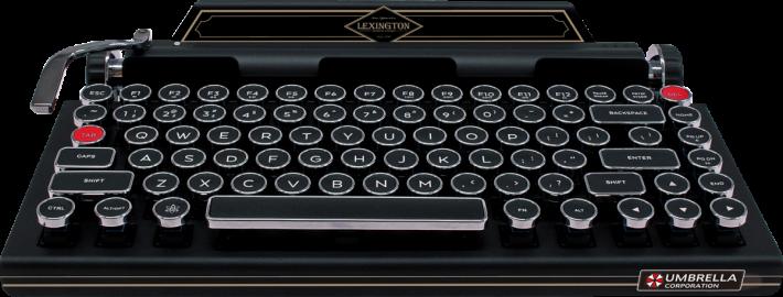 特典版鍵盤加上由開發團隊監修,在遊戲中登場的打字機品牌 LEXINGTON 和 UMBRELLA Corp. 的標誌。