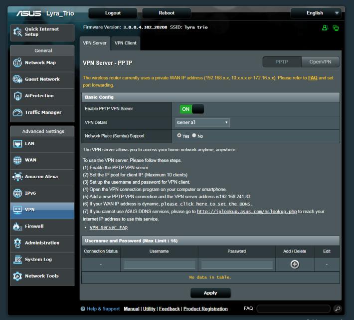電腦瀏覽器介面,具備 PPTP / OpenVPN Server 功能,為 Mesh Wi-Fi 產品中罕見。