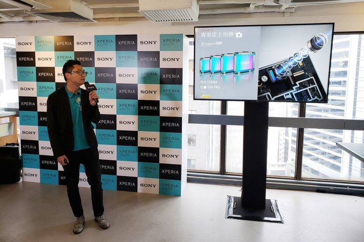"使用了 1/2.3"" Sony Exmor RS for mobile 影像感測器,支援 4K 影片攝錄之餘更可使用 ISO 12,800 感光度。"