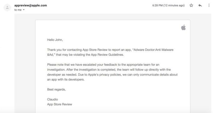 Apple 要舉報了一個月之後才採取行動
