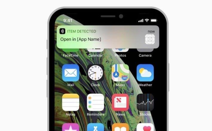 新版 iPhone 可以在不用 App 的情況下掃瞄 NFC 標籤的內容,以通知的形式彈出來。