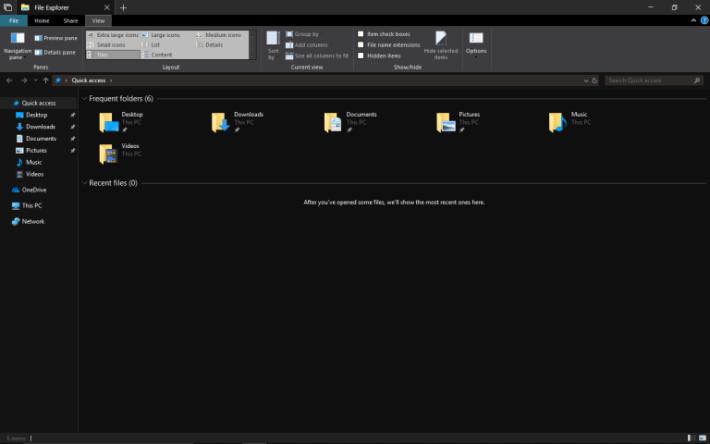 更新後,檔案總管就會變成黑色背景。
