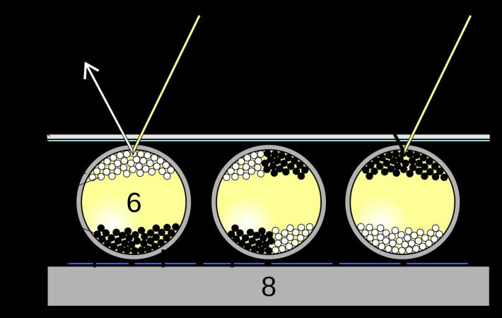 E Ink 屏幕的微膠囊內有許多黑白粒子。