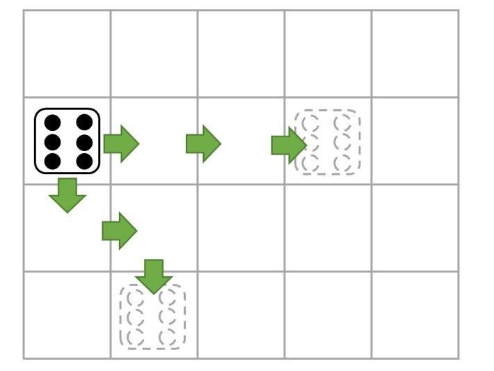 6 點骰的走法是直線任行 1 至 3 步。