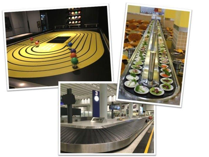 我們可以在機場運送行李的行李運輸帶和迴轉壽司的迴轉運輸帶中看到相似的原理。