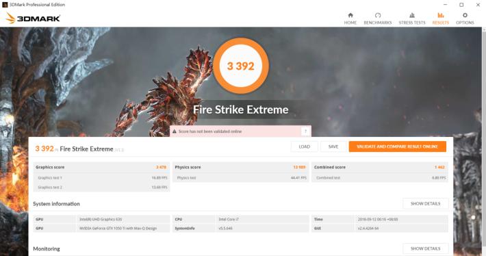 《3DMark》於 Fire Strike Extreme 測試取得 3,392 分。