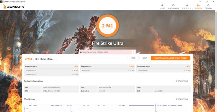於《Fire Strike Ultra》中取得 2,941 分,表現良好。