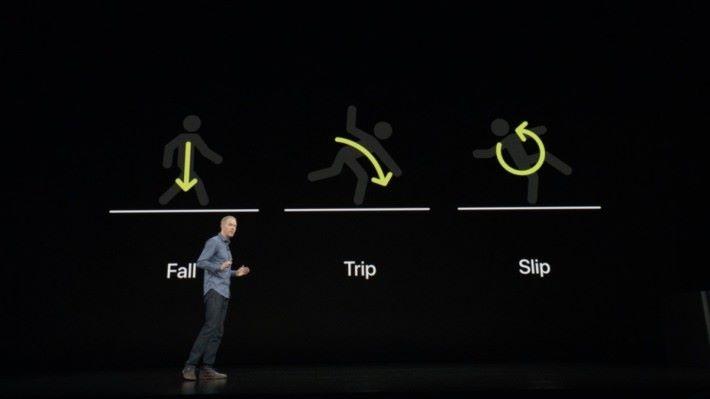 包括能感應用戶跌倒、絆倒、滑倒等。
