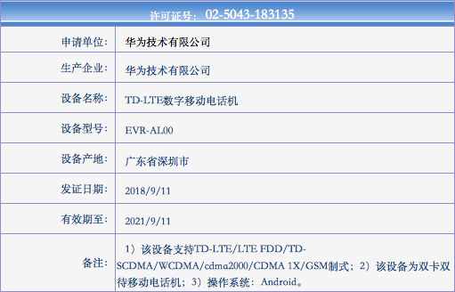 中國工信部已於 11 號通過 Huawei 三款新機認証。
