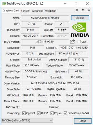 GPU-Z 顯示 PS42 8RB 採用 NVIDIA MX150 獨立顯示卡,可應付一般多媒體和遊戲所需。