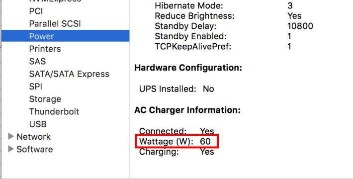 以 MacBook Pro 15 吋火牛連接後輸出為 60W。