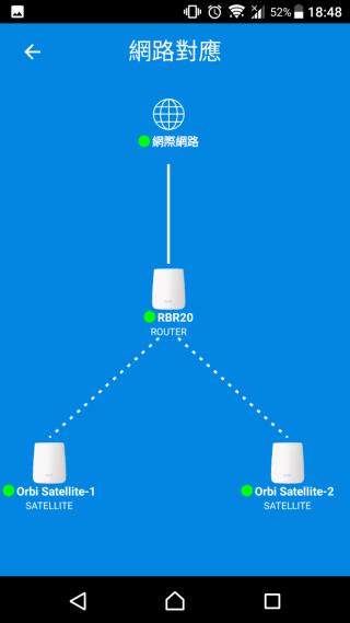 按「網絡對應」(這個翻譯得怪怪的),就會顯示 Router Node 與各 Satellite Node 的網絡佈局 / 地圖,那就清楚每一個 Node 連接互聯網的最快路徑。對我這些固執怪來説,這個地圖很重要,但很少品牌的 App 會有這個功能啦。