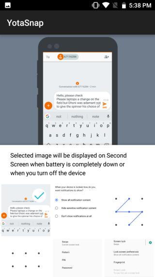 在《YotaSnap》App 預先設定沒電時,E Ink 屏幕顯示甚麼擷圖。