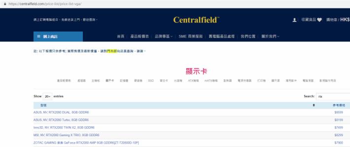 Centralfield 是少數已公布 RTX 2080 售價的商鋪,目前網上標示的都是建議零售價。而上述的 RTX 2080 Ti 非公版香港售價,是我們編輯部從廠商/代理中得悉,似乎未有網店公布。