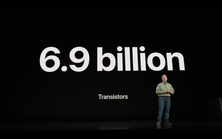 擁有 69 億個電晶體的 Apple A12 Bionic 處理器。這顆處理器由六核處理器、四核圖形處理器、Neural Engine 及其他處理單元所組成。