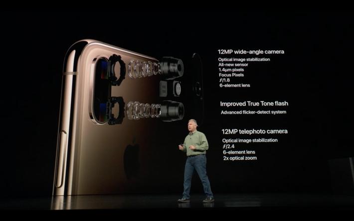雖然雙主相機則同上一代一樣,維持於 12MP 加 12MP,但就採用了新型感光元件,以及配置了改進的 True Tone flash。