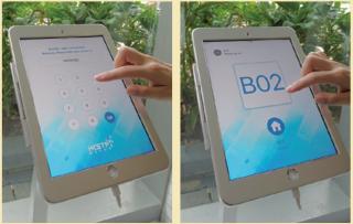 消費者在平板輸入電話號碼及提貨密碼,確認後系統就會顯示提貨窗口。