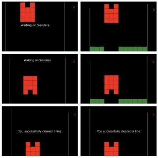 接收者(左)只會看到遊戲上半畫面,所以要聽從發信者的指示來決定要不要旋轉方塊。