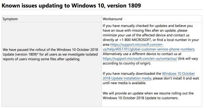 Windows 10 更新履歷網頁上貼出「已知問題更新」,指出現暫停推出 10 月更新。