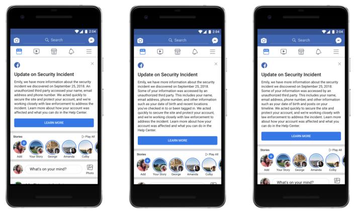 Facebook 將會向受害者發出的報告信息內容樣辨