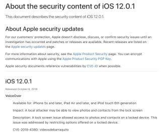 iOS 的 VoiceOver 和 QuickLook 存在漏洞,可以在鎖屏下讓機裡的軟件存取到照片或聯絡人資料。