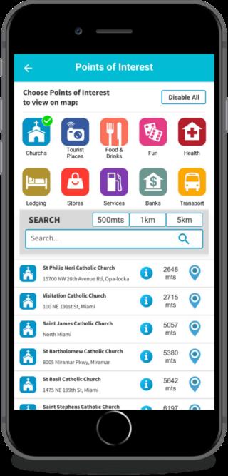 不單是教堂,還可以用遊戲來找附近的餐廳、油站和景點等,功能頗實用。