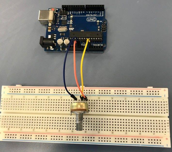 電位器和 Arduino UNO 接駁方式。