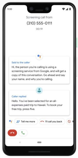Call Screen 讓用戶可以透過 Google Assistant 與來電子溝通,以便了解是否需要立即接聽。