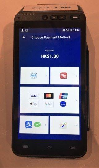 HKT 推出的智能 POS,一機可收齊時下流行的電子支付方法。