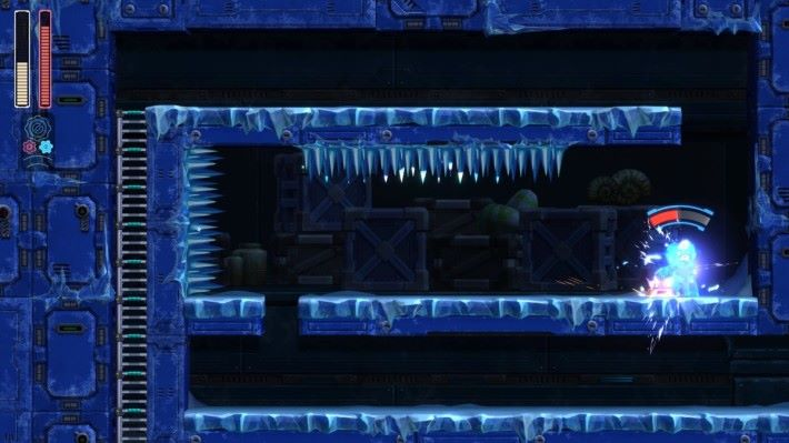 閃避地雷的同時,更可能不小心撞到上方的冰針而直接死亡....