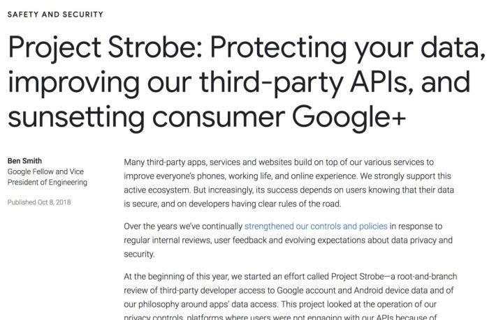 Google 在 Project Strobe 審查後決定明年 8 月關閉 Google+ ,但同時也披露半年前發現 50 萬用戶資料外洩。