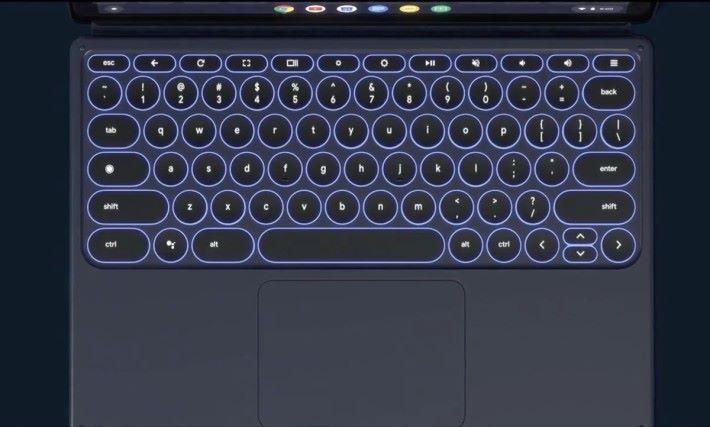 另售的 Pixel Slate Keyboard 採用圓型按鍵,不知道打起字來鍵距會不會很古怪。
