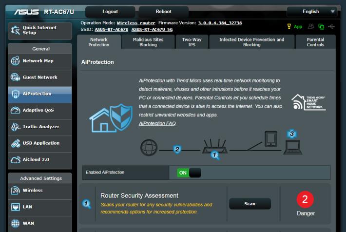 RT-AC67U 屬 ASUS 的高階型號,所以也有 Trend Micro 的 AiProtection 安全防護功能。