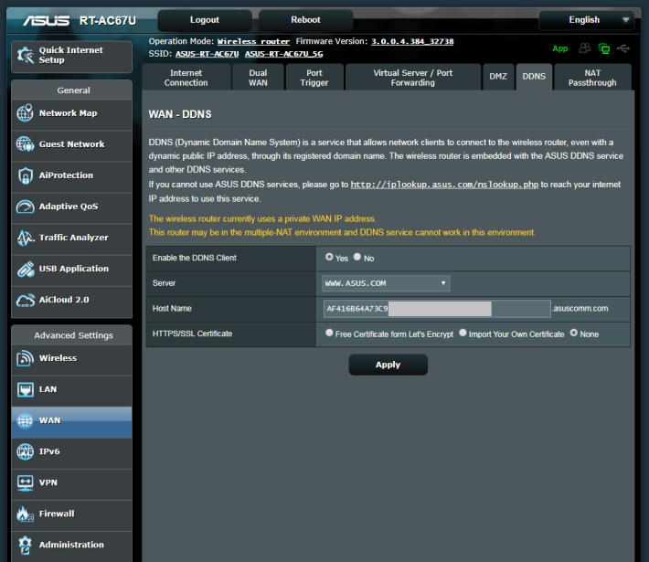 與其他 ASUS Router 一樣附送免費 asuscomm.com DDNS 網址。