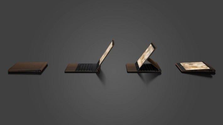 屏幕可以拉出成不同角度,甚至躺平使用。
