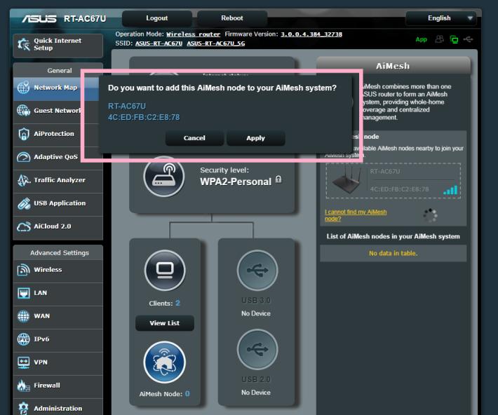 按下該 Router 圖示,就會彈出訊息,確認要把另一台 RT-AC67U 加入同一個 Mesh Network。