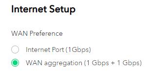WAN 埠和第 1 個 LAN 埠可合起來行 Link Aggregation。