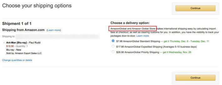 可以享用優惠的貨品在結帳時,都會見到運輸是 AmazonGlobal 的。