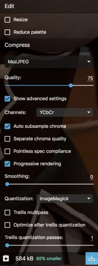 除了一般的縮放和調整調色板之外,每種輸出格式都可詳細設定,還可以即時看到調整後的結果和壓縮效率。