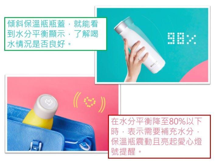 除了瓶蓋顯示,可以利用手機應用程式查看即時喝水資訊或查看歷史記錄,以更了解自己的喝水習慣。