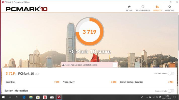 《PCMark 10》測試取得 3,719 分。