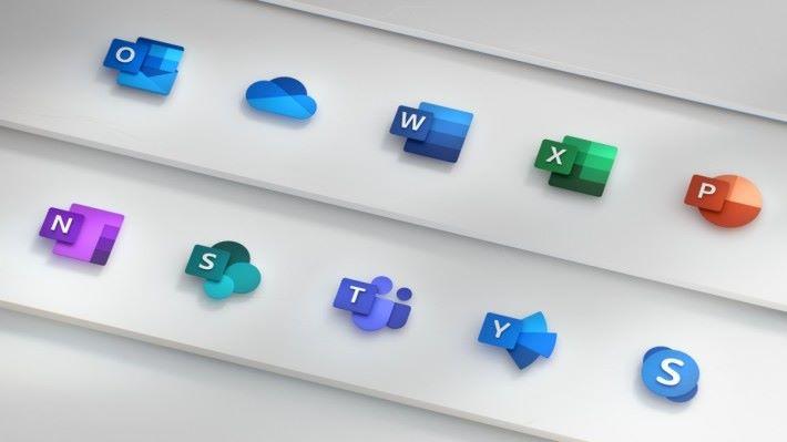 Office 各軟件的新標誌。除了 OneDrive 和 Skype 之外,其他軟件都以前面頭文字、後面色塊圖像的設計。