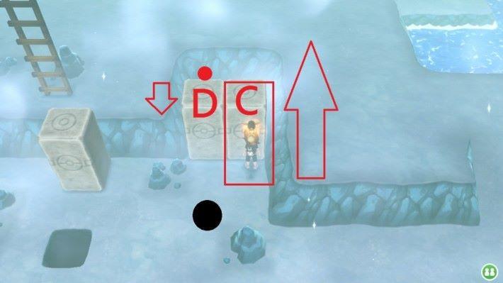 先無視 D 石,將 C 推往盡頭,再於紅點位置將 D 石推至黑點位置(不能超過)。