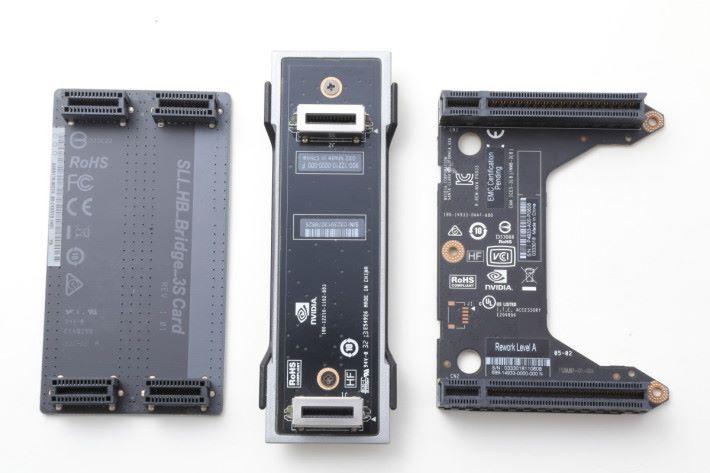 三代 SLI 同堂的畫面。中間是 SLI Bridge(第一代)、左方是 SLI-HB Bridge(第二代)及右方 RTX NVLink Bridge(第三代)。