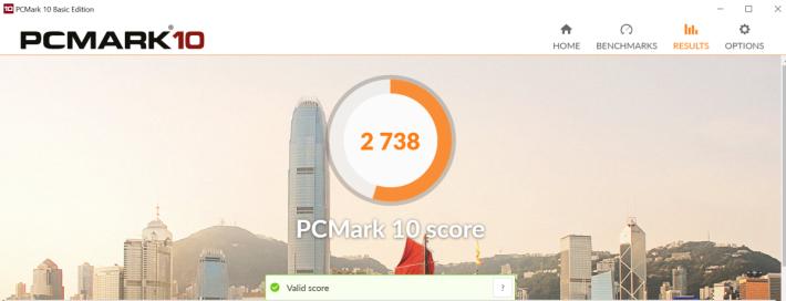 PCMark 10 獲 2,738 分,成績中上,一般商務工作都夠用。