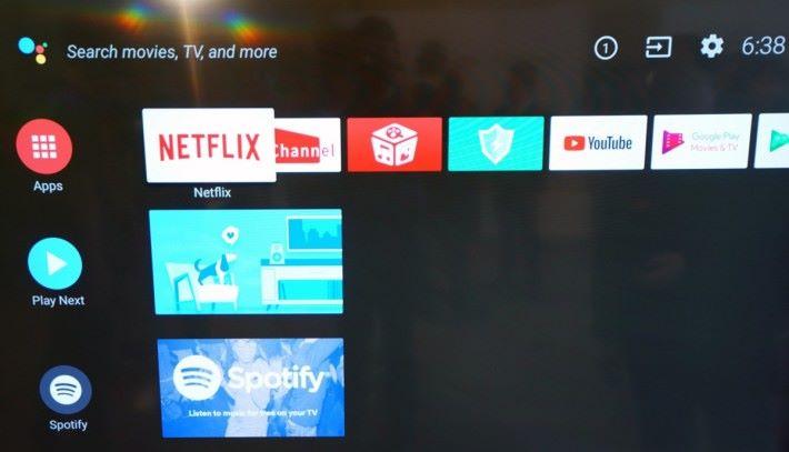.Android TV 8.0 介面,畫面需要上下移動,移到有內容時會自動顯示在主屏幕。