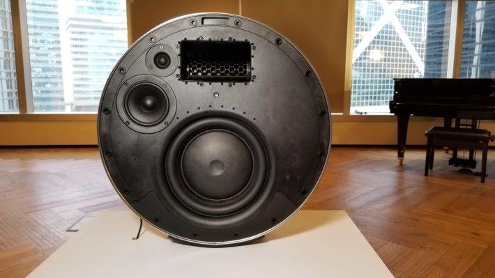 喇叭正面的面罩可拆下更換,可見內有 3/4 吋高音、4 吋中音、10 吋低音揚聲器,中上方的長方形就是 Active Bass Port。